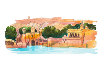 Hand-drawn watercolor sketch of Water Palace, lake Jaipur in India