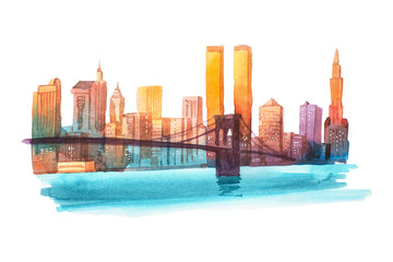 Manhattan bridge New York cityscape watercolor illustration.