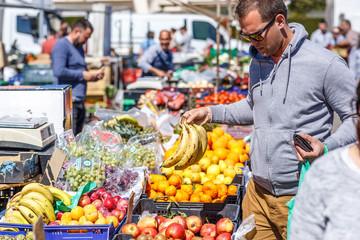 Street fruit market in Spain in summer