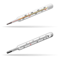 Thermometers medical. Glass mercury and alcohol thermometers for measuring the temperature of the human body. Vector .