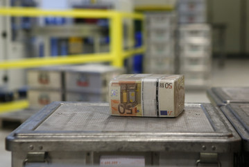 Wads of 50 euro banknotes are stacked in a pile at the Money Service Austria company's headquarters in Vienna