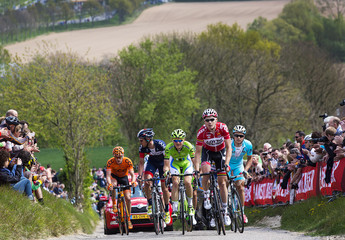 A breakaway group climbs the Gulpener mountain trail during the Amstel Gold cycling race in Valkenburg