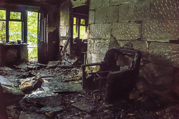 Burned house inside, Burned furniture, interior items