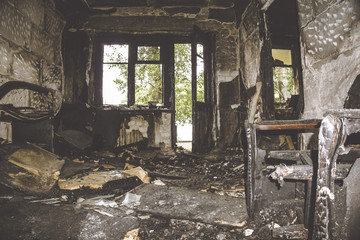 Burned by fire and abandoned room