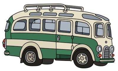 Funny retro green and white touristic bus