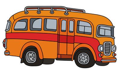 Funny classic orange bus