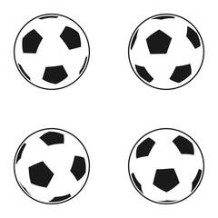 Icon set of Ball for european football. Soccer symbol, sign