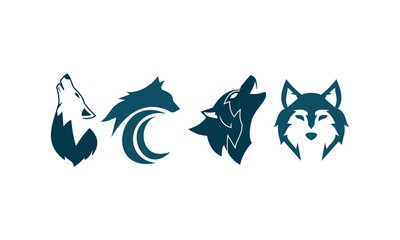 Wolf Set Four Logo Template