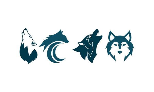 Wolf Set Four Logo Template