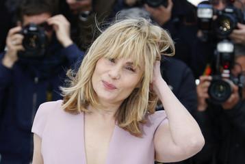 "Cast member Emmanuelle Seigner poses during a photocall for the film ""La Venus a la Fourrure"" at the 66th Cannes Film Festival"