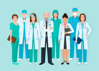 Hospital staff. Group of eight men and women doctors and nurses characters standing together. Medical people.