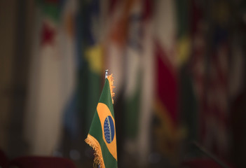 Brazilian flag is pictured before opening of 32nd Meeting of Ministers of Foreign Affairs of G-15, in Tehran