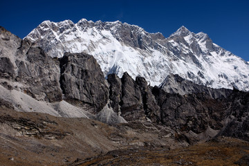 Landscape of south face of Lhotse, fourth highest mountain in the world, in Himalaya, Nepal
