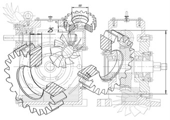 Machine-building drawings on a white background, wheels.