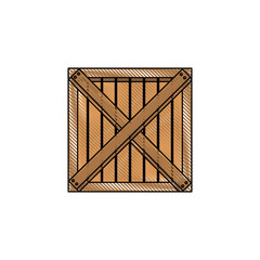 wooden box cargo delivery merchandise vector illustration
