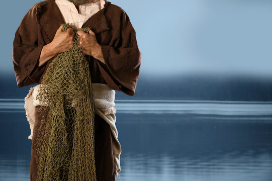 Aplostle Fisherman Holding Nets