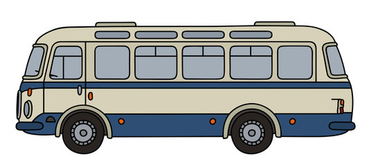 Classic blue and cream line bus