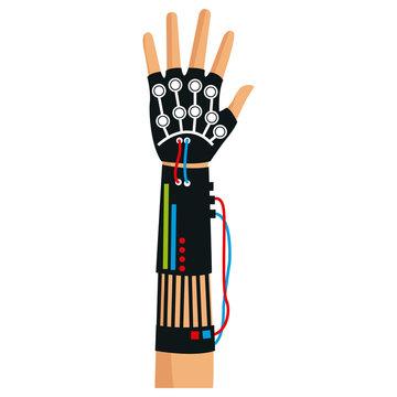 virtual reality gloves arm technology, vector illustration