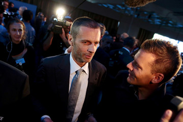 Newly elected UEFA President Ceferin of Slovenia is congratulated after the election during the UEFA Extraordinary Congress in Athens