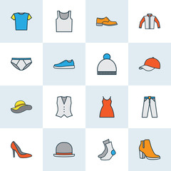 Dress Colorful Outline Icons Set. Collection Of Female Boots, Heels, Dress And Other Elements. Also Includes Symbols Such As Socks, Underwear, Panties.