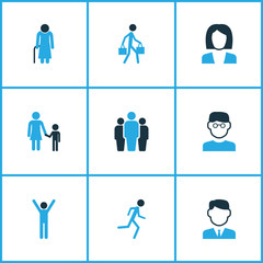 People Colorful Icons Set. Collection Of Bags, Happiness, Worker And Other Elements. Also Includes Symbols Such As Businessman, Clever, Run.