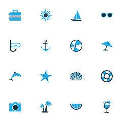 Hot Colorful Icons Set. Collection Of Suitcase, Ball, Sun And Other Elements. Also Includes Symbols Such As Parasol, Fresh, Umbrella.