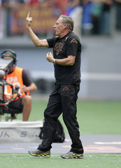 AS Roma's coach Zdenek Zeman reacts during the Serie A soccer match against Bologna at the Olympic stadium in Rome