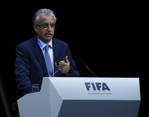 FIFA presidential candidate Sheikh Salman Bin Ebrahim Al-Khalifa of Bahrain makes a speech during the Extraordinary FIFA Congress in Zurich