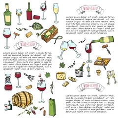 Hand drawn wine set icons Vector illustration Sketchy wine tasting elements collection Winery objects Cartoon symbols Vineyard background Vine Vineland Grape Glass Bottle Cheese Oak barrel Opener