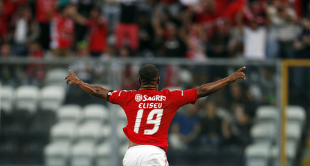 Benfica's Eliseo celebrates his goal against Boavista during their Portuguese Premier League soccer match at Bessa stadium in Porto