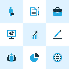 Business Colorful Icons Set. Collection Of Growing Chart, Businessman, Document With Pen And Other Elements. Also Includes Symbols Such As Human, Agreement, Team.
