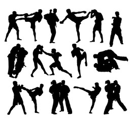 Judo and Free Boxing Silhouettes, art vector design