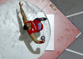 Stanek of Czech Republic competes in the men's Shot Put qualification event at the world indoor athletics championships at the ERGO Arena in Sopot