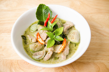 Thai food,Green curry with chicken