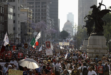 Protesters take part during a march against new taxes on food and medicine, as well as the privatization of state oil company Pemex, in Mexico City