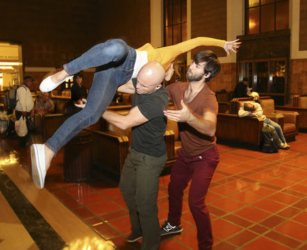 """Performers from L.A. Dance Project dance during dress rehearsal for experimental opera """"Invisible Cities"""", which is presented inside the historic Los Angeles Union Station in California"""