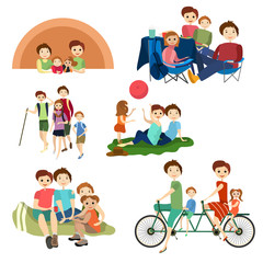 Vector flat icons set of family characters camping, hiking