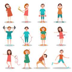 Children doing sports vector flat illustration