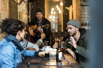 Diverse People Hang Out Pub Friendship Wall mural