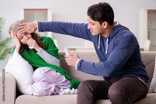 """""""Husband Caring For Sick Wife"""" Stock Photo And Royalty"""
