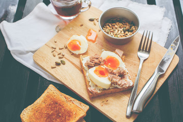 Healthy Breakfast Coffee Toast Tuna Eggs Sunflower Seeds
