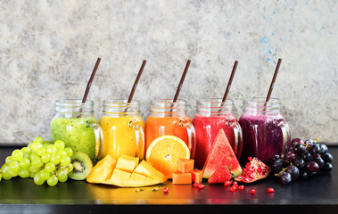 Fresh Color Juices Smoothie Tropical Fruits multi