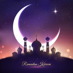Ramadan Kareem, Eid Mubarak greeting card design