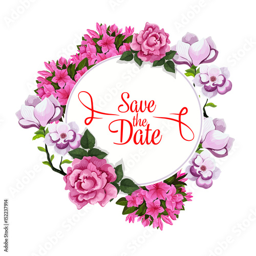 save date wedding greeting vector floral template stock image and