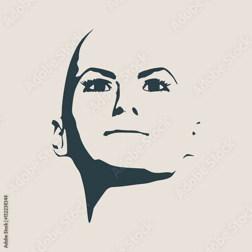 face front view elegant silhouette of a female head vector
