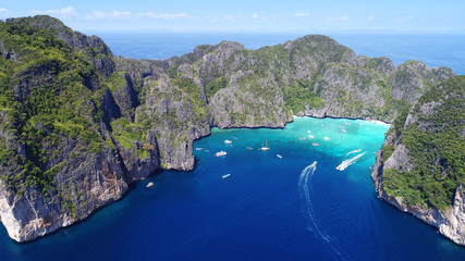 Top View Tropical Island , Aerial view of Maya bay ,Phi-Phi Islands, Krabi, Thailand. Fototapete