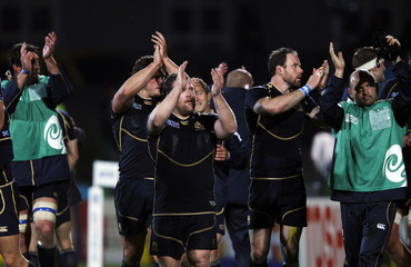 Scotland players acknowledge the crowd after winning their Rugby World Cup Pool B match against Georgia at Rugby Park Stadium in Invercargill