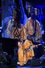 Amadou and Mariam perform during the opening concert for the 2010 World Cup at the Orlando Stadium in Soweto