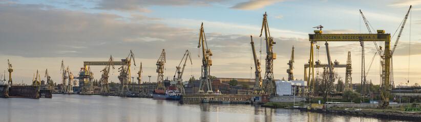 Szczecin, Poland-May 2017: industrial areas of shipyards in Szczecin