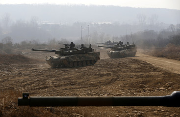 South Korean army's K-2 tanks take part in an annual live-fire military exercise in Yangpyeong
